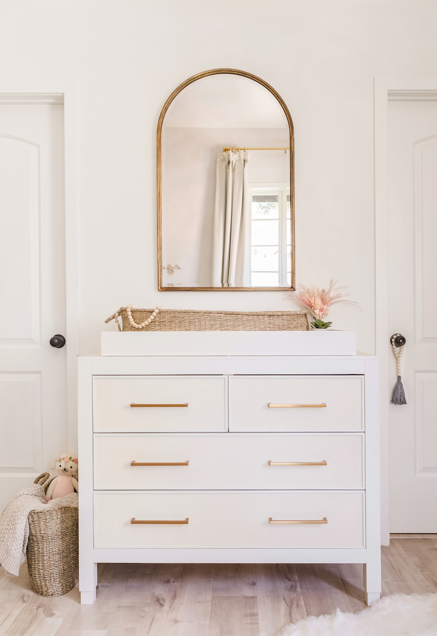 Arch Mirror over Changing Table/Dresser in Baby Girl Nursery