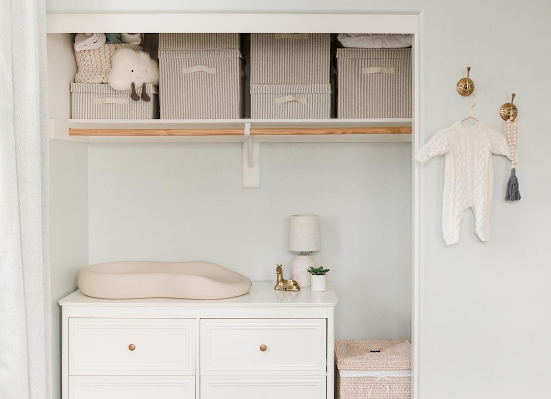 Nursery Closet Organization with Dresser