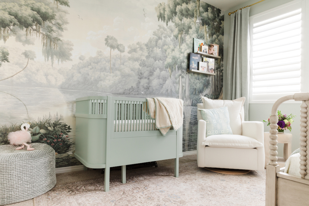 Green Crib and Southern River Mural in Nursery