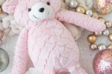 christmas teddy bear pink